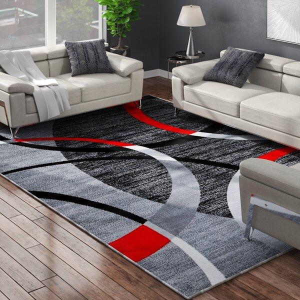 Cobbett Abstract Gray/Black Area Rug by Orren Ellis