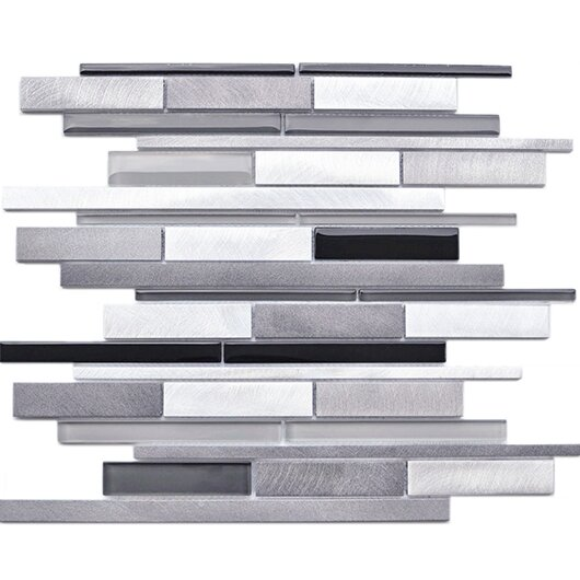 Random Sized 11.6 x 12.1 Aluminum Mosaic Tile in Gray/Black by Eden Mosaic Tile