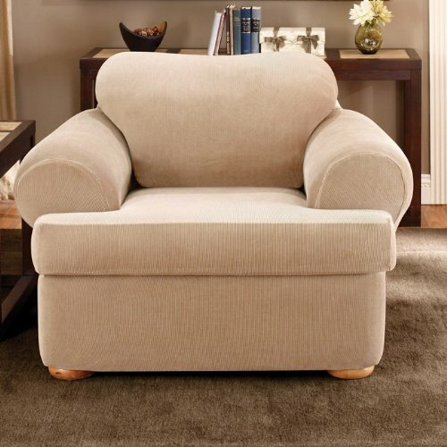 Stretch Stripe T-Cushion Armchair Slipcover by Sur