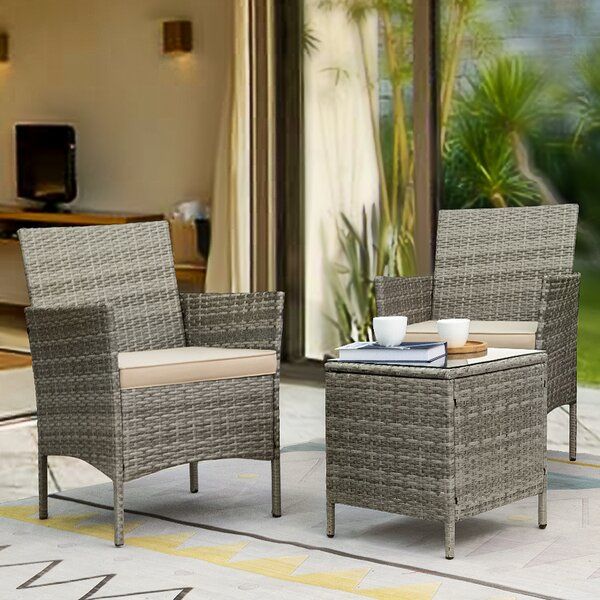 Driskell 3 Piece Rattan Seating Group With Cushions By Highland Dunes by Highland Dunes Today Only Sale