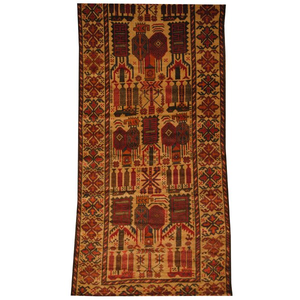 Afghan Tribal Balouchi Hand-Knotted Beige/Red Area Rug by Herat Oriental