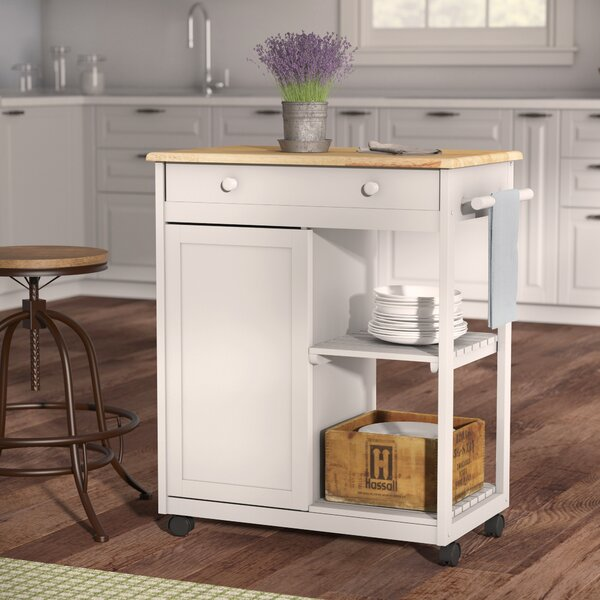 Woolsey Kitchen Cart with Wooden Top by August Grove