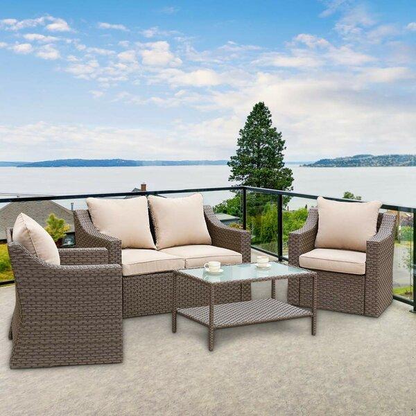 Elanora 4 Piece Rattan Sofa Seating Group with Cushions by Latitude Run