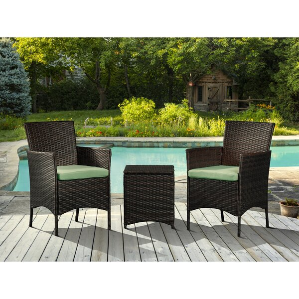 Lynette 3 Piece Rattan With Cushions By Wrought Studio