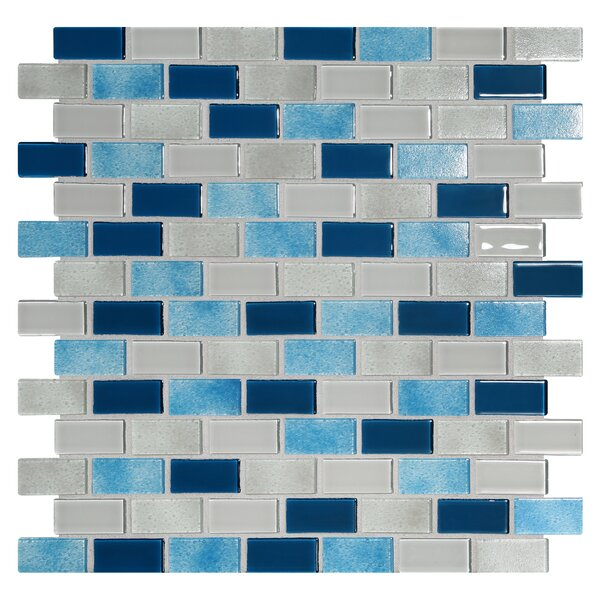 Tides 0.75 x 1.63 Glass Mosaic Tile in Big Sky by Kellani