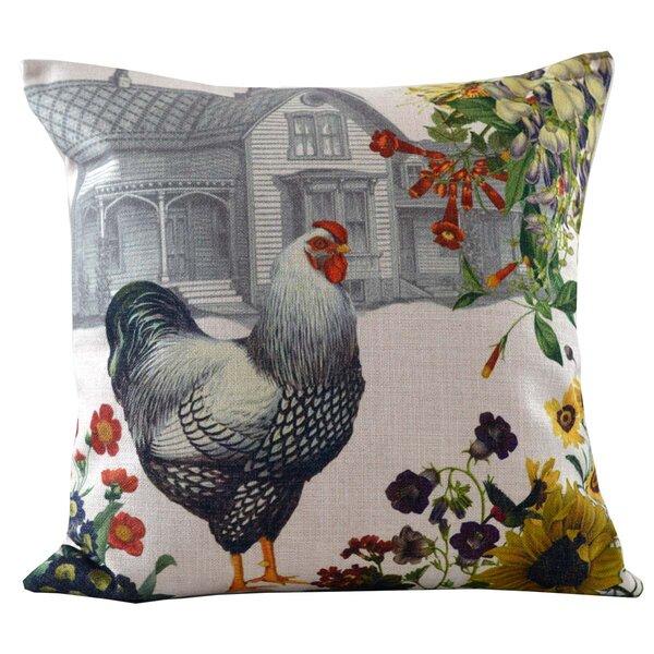 Hen and Farmhouse Insert Throw Pillow by Golden Hill Studio