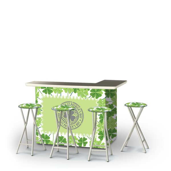 Wittrock St Patricks Day Four Leaf Clovers 5-Piece Bar Set by East Urban Home East Urban Home