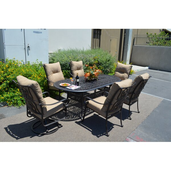 Poulsbo 7 Piece Dining Set with Cushions by Fleur De Lis Living