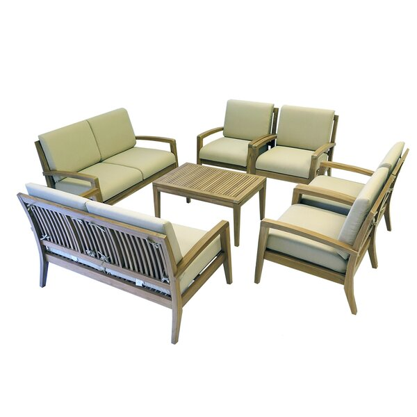 Ohana 7 Piece Teak Sofa Seating Group with Cushions by Ohana Depot