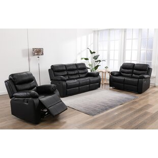 Bhatari 3 Piece Faux Leather Reclining Living Room Set by Red Barrel Studio®
