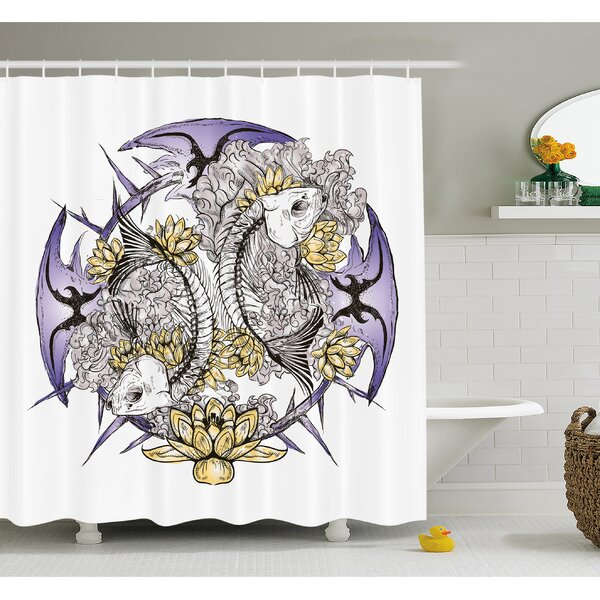 Skull Pisces Fish with Lotus Flowers Traditional Eastern Symbolic Religious Shower Curtain Set by Ambesonne