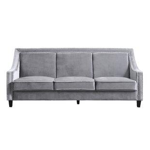 Trista Nailhead Trim Wood Legs Couch Sofa