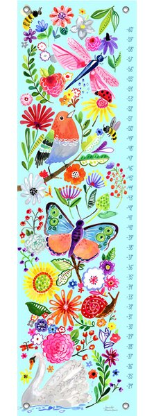 Kitty In the Garden Growth Chart by Harriet Bee
