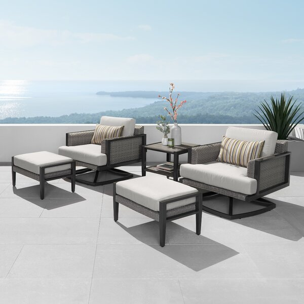 Tudor Motion Club Chair 5 Piece Rattan Sunbrella Seating Group with Sunbrella Cushions by Foundry Select