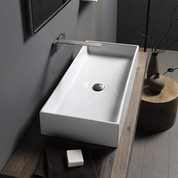 Teorema Ceramic Rectangular Vessel Bathroom Sink by Scarabeo by Nameeks
