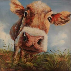 'Cow In Field' Painting Print on Wrapped Canvas by Gracie Oaks
