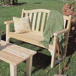 Cedar Camel Back Wood Bench by Rustic Natural Cedar Furniture