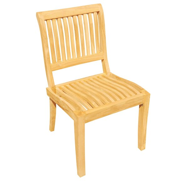 Masten Stacking Teak Patio Dining Chair by Rosecliff Heights