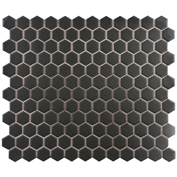 New York Hexagon 10.25 x 12 Porcelain Unglazed Mosaic Tile in Antique Black by EliteTile