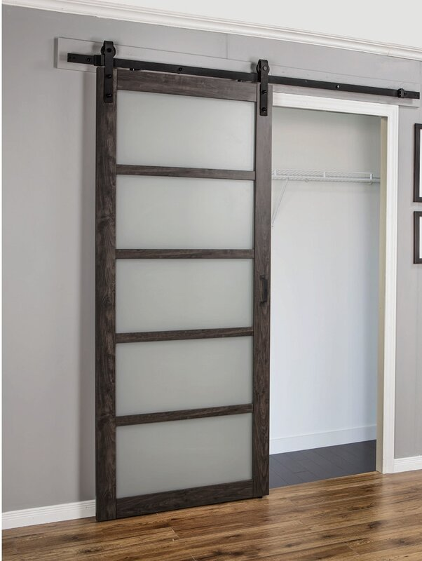 Rogelio Frosted Glass 1 Panel Ironage Laminate Interior Barn Door