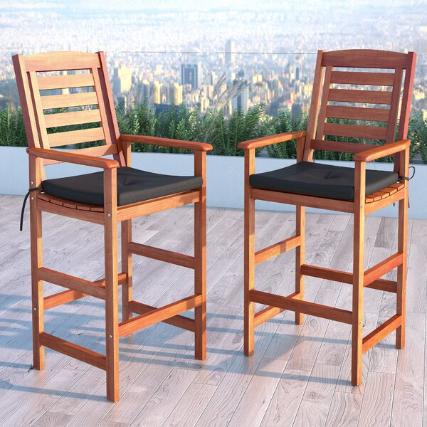 Folse 31.5 Patio Bar Stool with Cushion (Set of 2) by Brayden Studio