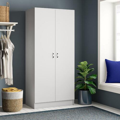Audrina 2 Door Wardrobe Zipcode Design Finish: White