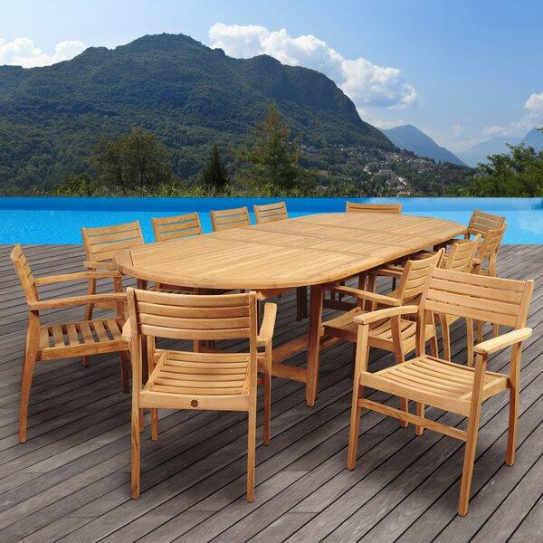 Tressler International Home Outdoor 13 Piece Teak Dining Set by Highland Dunes