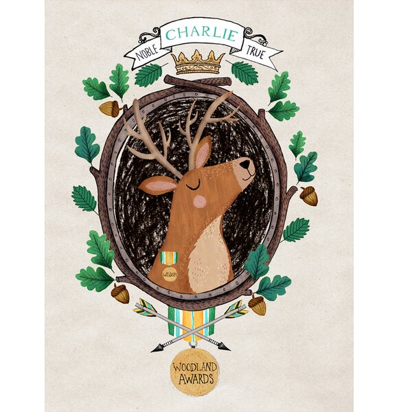 Woodland Awards Personalized Wise Stag Canvas Art by Oopsy Daisy