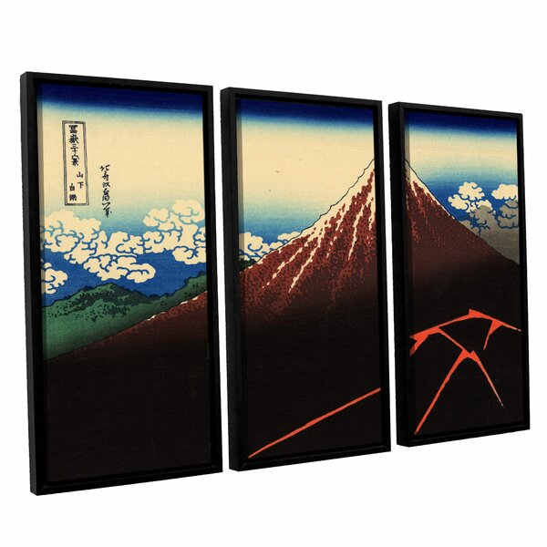 Shower Below the Summit (Sanka Hakuu) by Katsushika Hokusai 3 Piece Framed Painting Print Canvas Set by ArtWall