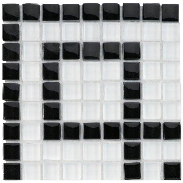 Sierra 0.63 x 0.63 Glass Mosaic Tile in White/Black by EliteTile