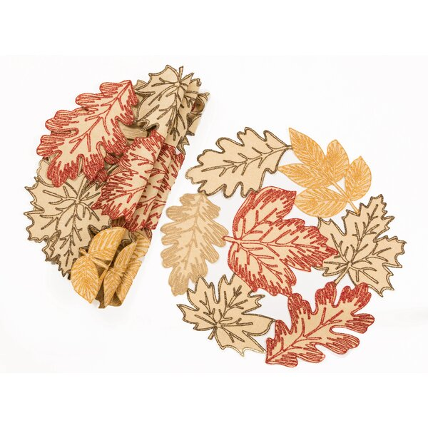 Palmer Autumn Leaves Embroidered Cutwork Round 16 Placemat (Set of 4) by August Grove