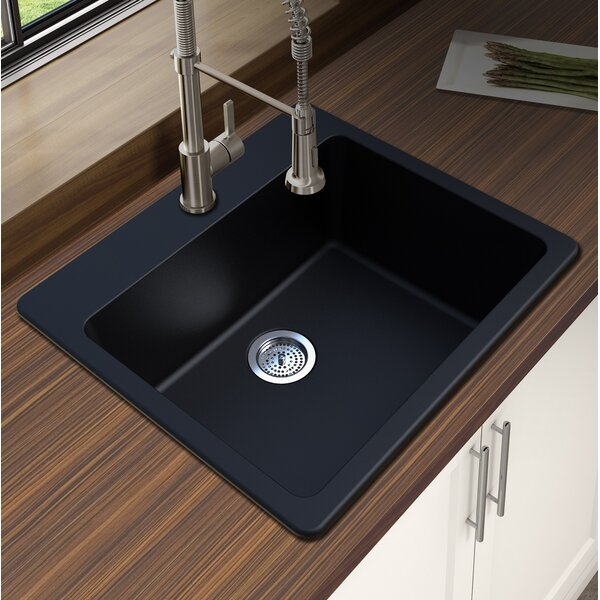 Granite Quartz 25 L x 22 W Single Bowl Drop-In Kitchen Sink by Winpro