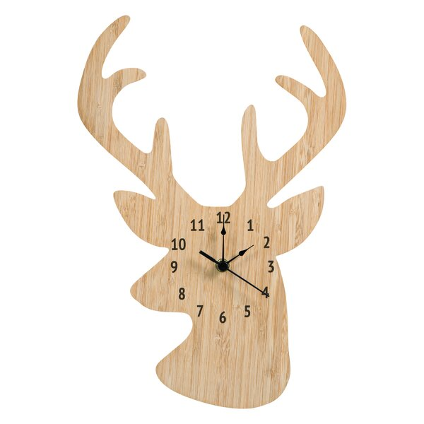 Bamboo Stag Head Wall Clock by Trend Lab