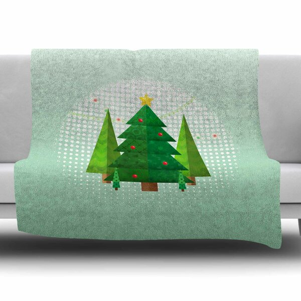 Geometric Christmas Tree by Noonday Design Fleece Blanket by East Urban Home