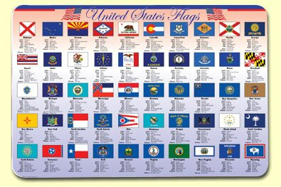 State Flags Placemat (Set of 4) by Painless Learning Placemats