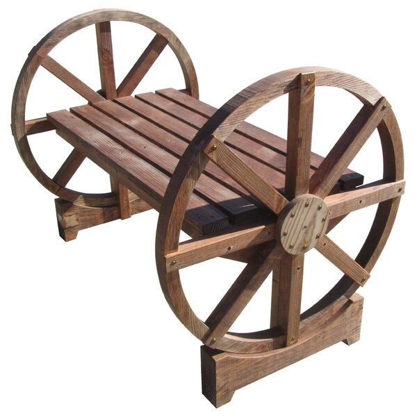 Wheel Wood Garden Bench by Millwood Pines Millwood Pines