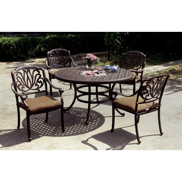 Lebanon 5 Piece Dining Set with Cushions and Cooler by Three Posts