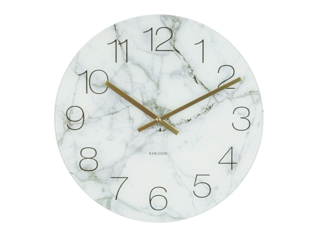 Wall clocks youll love wayfair auten round glass marble wall clock amipublicfo Choice Image
