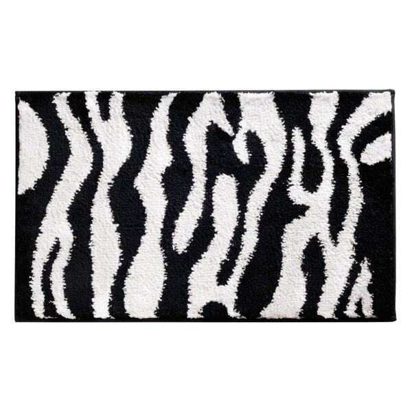 Microfiber Zebra Shower Accent Bath Rug by InterDesign