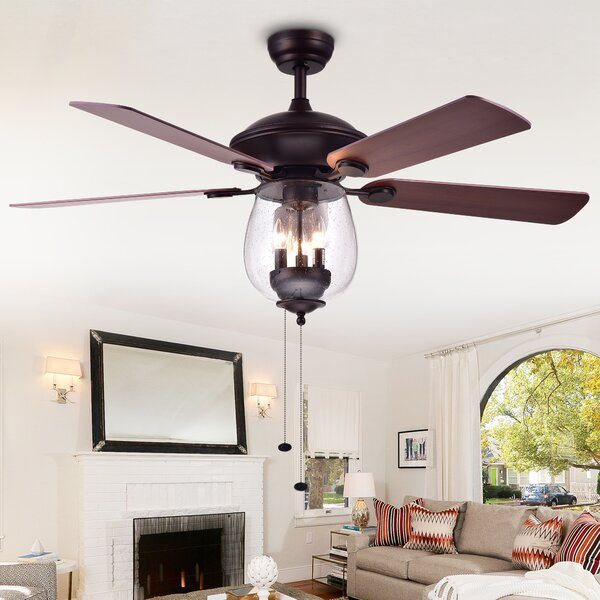 52 Bunyard Wood Glass 5 Blade Lighted Ceiling Fan by Alcott Hill