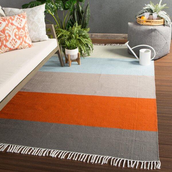 Handwoven Flatweave Orange Indoor/Outdoor Area Rug