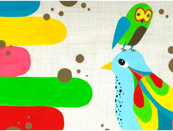 Owl and Bird Colors Canvas Art by Oopsy Daisy