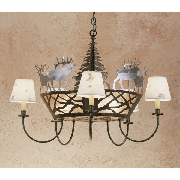 Elk on the Loose 5-Light Shaded Wagon Wheel Chandelier by Meyda Tiffany Meyda Tiffany
