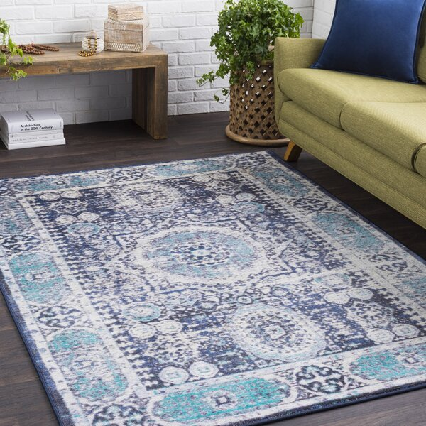 Wyclif Traditional Distressed Bright Blue/Black Area Rug by Bungalow Rose