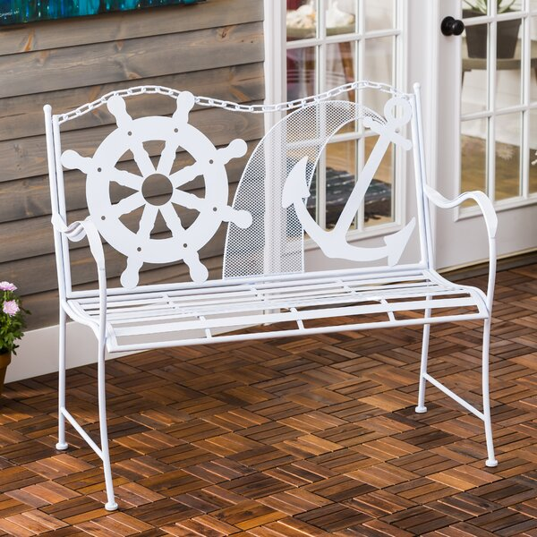 Howell Coastal Metal Garden Bench by Breakwater Bay