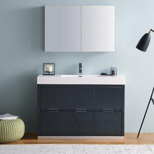 Check Prices Senza Valencia 48 Single Bathroom Vanity Set with Mirror ByFresca