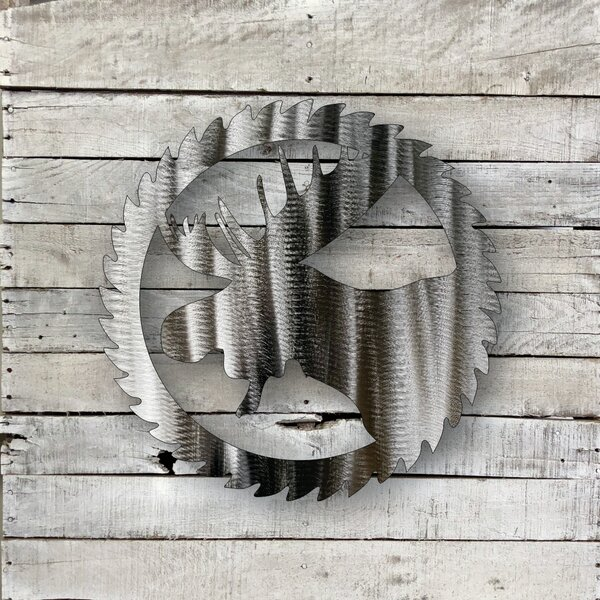 Sawblade Moose Steel Wall Décor by Millwood Pines