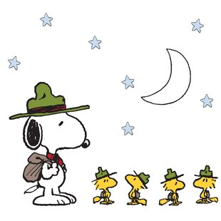 snoopys campout peanuts stars wall decal