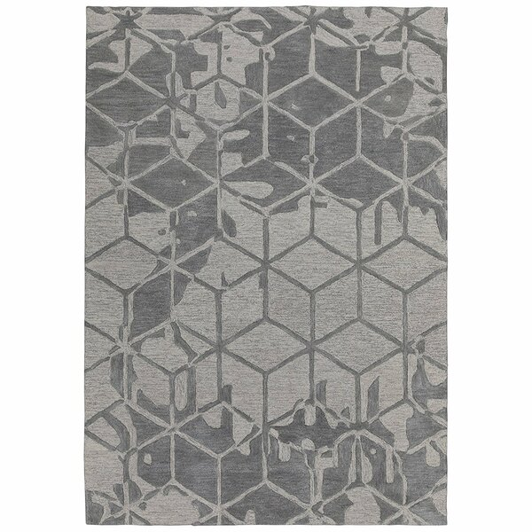 Konrad Natural Geometric 3D Cube Hand-Tufted Wool Gray Area Rug by Latitude Run