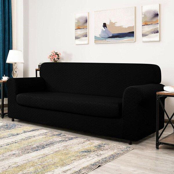 Rhombus Jacquard Box Cushion Loveseat Slipcover By Winston Porter